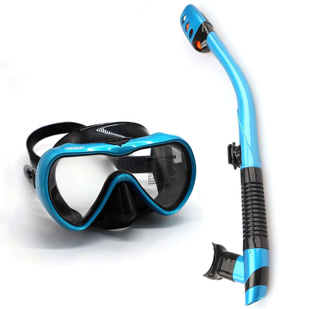 TAKEBEST Snorkel Set, Anti-Fog Snorkel Diving Mask Panoramic Wide View Tempered Glass, Easy Breathing Anti-Leak Dry Top Snorkel, Professional Snorkeling Set for Adult Youth (Light Blue+Black) by TAKEBEST