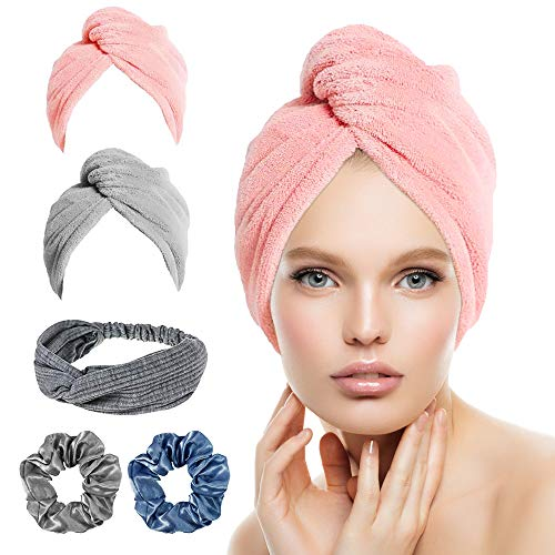 Microfiber Hair Towel Wrap Turban, 5 Pack Hair Drying Towels with (Hair Band & Hair Scrunchies ),Quick Dry Towel Hair Turbans,Anti Frizz Super Absorbent & Soft Hair Towels for Women Girl
