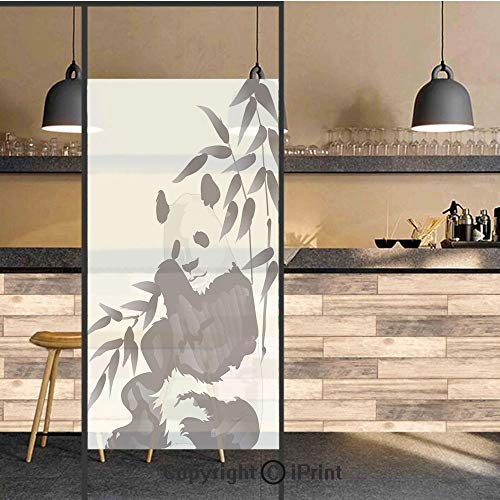(3D Decorative Privacy Window Films,Giant Panda Bear Sitting in Zoo Traditional Chinese Painting Monochrome Picture,No-Glue Self Static Cling Glass film for Home Bedroom Bathroom Kitchen Office 24x71 I )