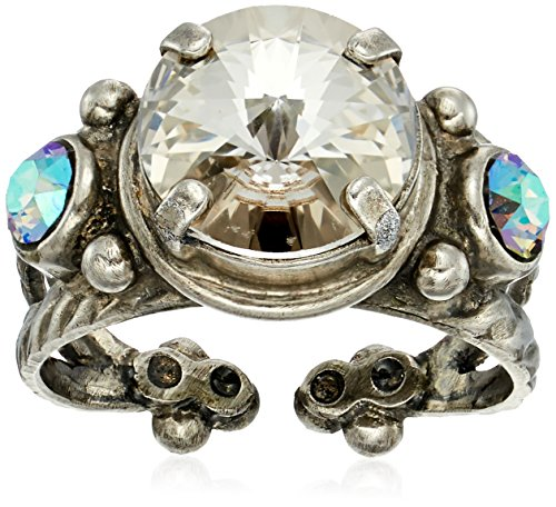 - Sorrelli Core Antique Silver Tone Crystal Rock Radiant Round Adjustable Ring