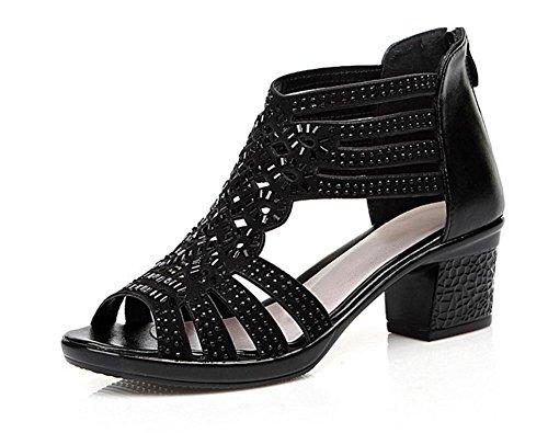 sandalias de verano de mujeres con los zapatos de diamantes cabeza de pescado zapatos Sra pared gruesa con sandalias Black
