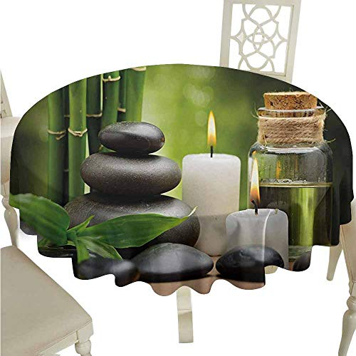 duommhome Spa Durable Tablecloth Hot Massage Rocks Combined with Candles and Scents Landscape of Bamboo Print Easy Care D55 Green White and Black