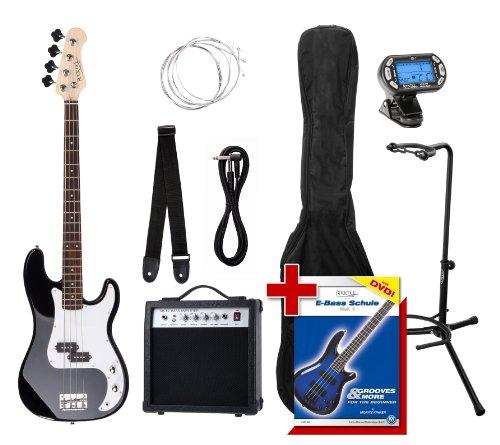 Rocktile Groover's Pack PB E-Bass Set III Black + Cliptuner+ Gitarrenständer