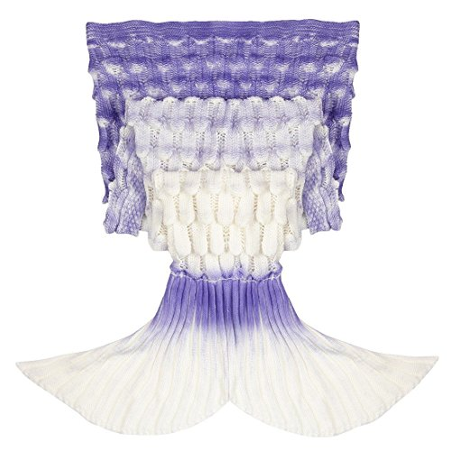 TiaoBug Handcrafted Knitted Crochet Mermaid Tail Blanket for Teen Adults,Living Room Bedroom Sofa Sleeping Bag Purple Gradient Adults One Size