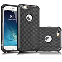 iPhone 6S Case, Tekcoo(TM) [Tmajor Series] iPhone 6 / 6S (4.7 INCH) Case Shock Absorbing Hybrid Best Impact Defender Rugged Slim Cover Shell w/ Plastic Outer & Rubber Silicone Inner [Black/Black]