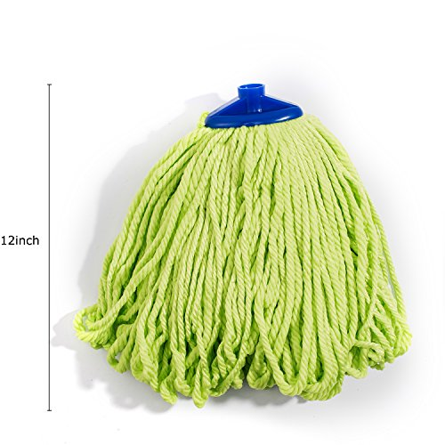 QIPENG 12'' Professional Microfiber Mop Head 4 Pack, Washable Wet and Dry Mop Heads, Super Absorbent Mop (Green) by QIPENG (Image #1)