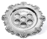 Silver Plated Passover Seder Plate - Traditional Judaica Passover Seder Plate - Kaarah Shallow Scalloped Edge Design Large 15'' DIAMETER By Ner Mitzvah