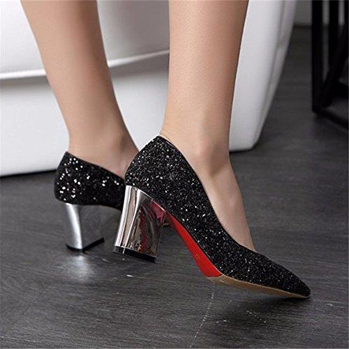 talon pointes noir de à Chaussures fête individuels HXVU56546 avec automne la Chaussures saisons et Chaussures Femmes printemps Paillettes XwnfqTC0v