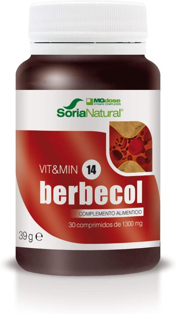 Soria Natural - Berbecol Vit&min 14 - Complemento dietético - 30 comprimidos - Berberina y Levadura de Arroz Rojo