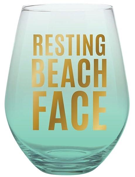 Resting Beach Face Jumbo 30 oz. Aqua Blue Ombre - Copa de ...