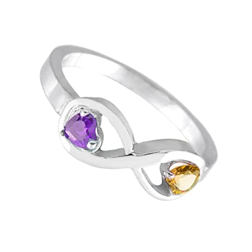 Fine 10k White Gold Mother s Mix-and-Match Dual CZ Heart Birthstone Infinity Ring