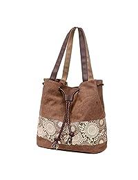 Myosotis510 Retro Canvas Sunflower Shoulder Drawstring Bucket Bag