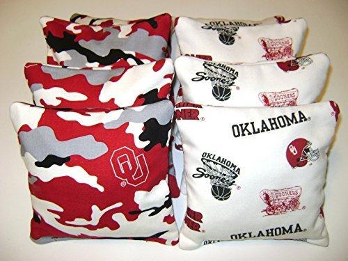8 Cornhole Bean Bag Baggo Corn Toss Game Oklahoma Sooners Camo White