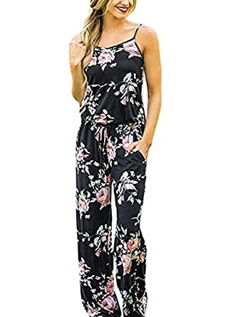 AMiERY Casual Floral Printed Summer Jumpsuits for Women Sexy Beach Halter Sleeveless Lounge Long Pants Strap Jumpsuit Rompers (S, Black)