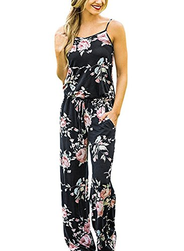 AMiERY Casual Floral Printed Summer Jumpsuits for Women Sexy Beach Halter Sleeveless Lounge Long Pants Strap Jumpsuit Rompers (XL, Black)