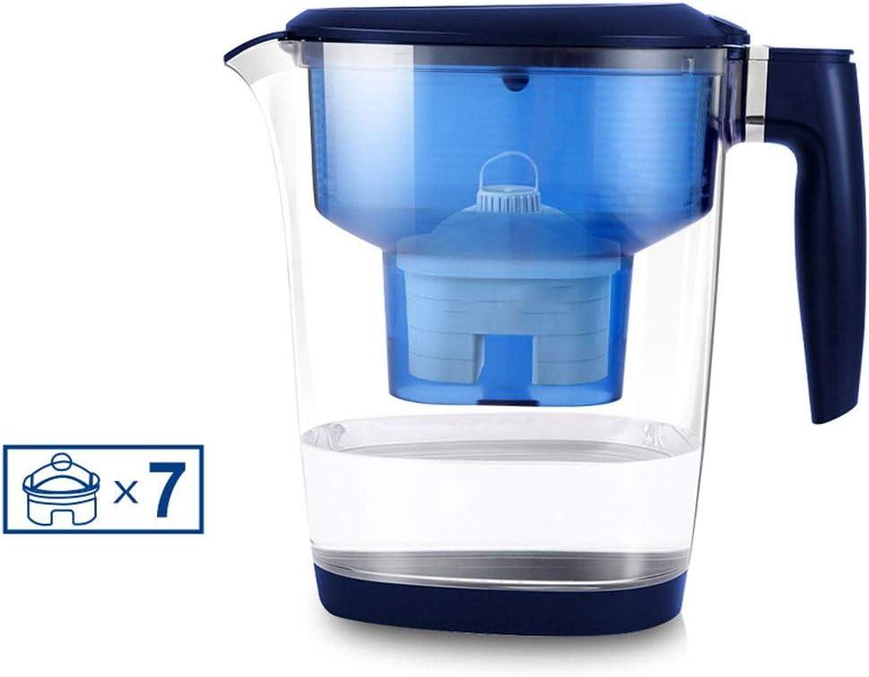 プレミアムホーム水フィルター、3.5L特大水フィルター水差し、7高性能フィルターフィルター、石灰かすと塩素の削減、LEDタイミング表示、青と