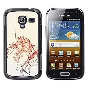 LECELL--Funda protectora / Cubierta / Piel For Samsung Galaxy Ace 2 -- Abstract Girl - Pop Art --