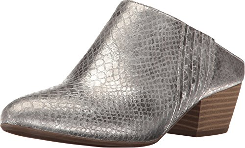 BCBGeneration Women's Lori Almond Toe Mules Sandals Argento Smooth Matte Metallic Python Print Size 6 M US ()