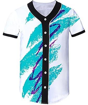 Uideazone Unisex 3D Printed Short Sleeve Baseball Shirt Arc Bottom Jersey Shirts