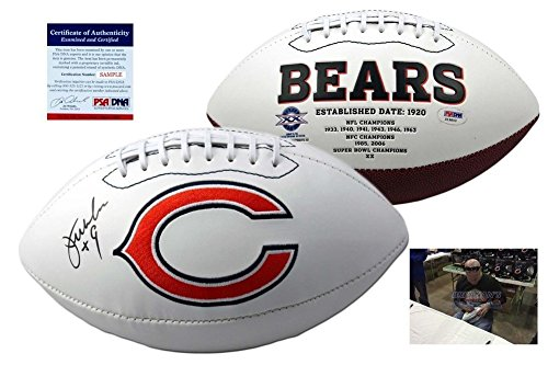 Jim Mcmahon Chicago Bears - Jim Mcmahon Signed Chicago Bears Football - PSA/DNA Signed W/ Photo - Authentic Signed Autograph