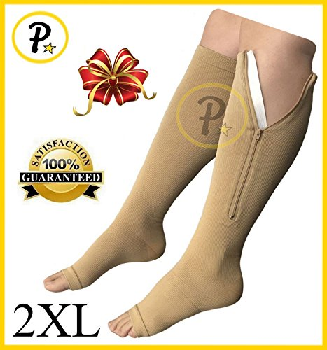 NEW Open Toe Knee Length Zipper Up Compression Hosiery Calf Leg Support Stocking (2XL, (High Compression Hosiery)