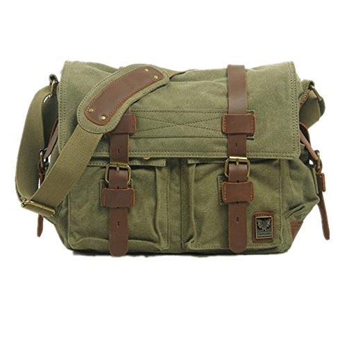 Bestfort Canvas Leder Retro Umhängetasche Messenger Bag Cameratasche Laptoptasche Citytasche Regenschutz für Damen Herren (Kaffee) Armee Grün cVzFg