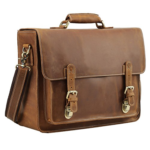 Polare Men's Full Grain Leather Laptop Briefcase Messenger Bag Vintage Travel ()