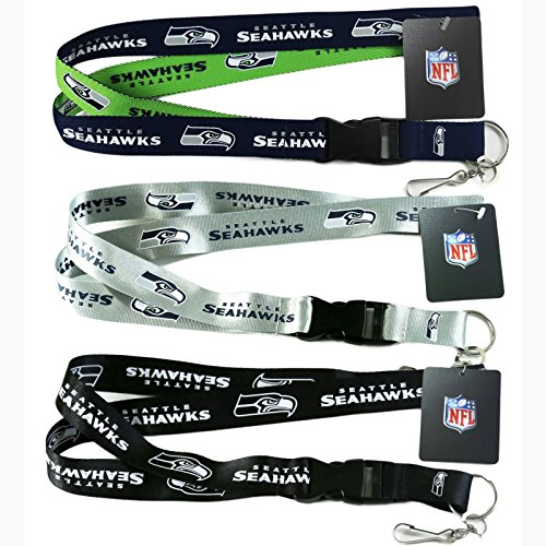 Seahawks Seattle Lanyard (NFL Seattle Seahawks Lanyard, ( 2-Tone, Silver, Blackout ) Breakaway Keychain Lanyard, Set of 3)
