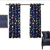 longbuyer Funky Insulated Sunshade Curtain Retro 80`s Memphis Fashion Style Vibrant Triangles Squares