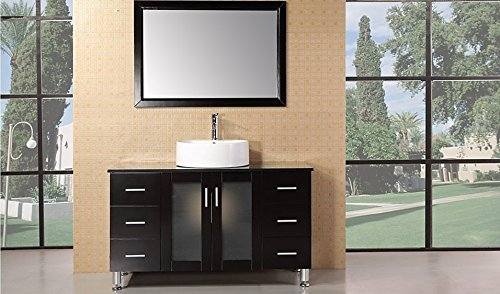 Design Element Malibu Single Round Vessel Sink Vanity Set in Espresso Finish, 48-Inch - 48 Bathroom Vanity Vessel Sink
