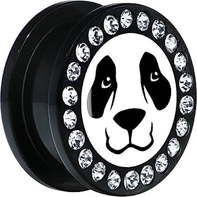 Acrílico Negro Cara De Panda Dilatador Ajuste Rosca Par 20mm: Amazon.es: Joyería