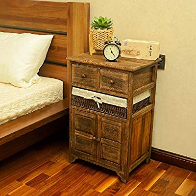 Yatai Bedside Table Nightstand For Bedroom Chest Drawers Cabinet Solid Wood Storage Organizer 3 Drawers With Removable Storage Wicker Basket Wooden Storage Shoe Rack Cupboard Shelf Organiser Buy Online