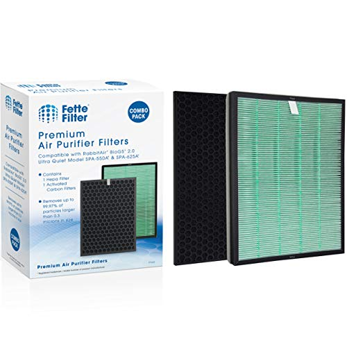 Fette Filter -Premium Air Purifier Filter Set Contains Hepa Filter & Charcoal Based Activated Carbon Filter Compatible with Rabbit Air BioGS 2.0 Ultra Quiet Model SPA-550A & SPA-625A Air Purifiers- Pack of 1