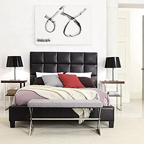 INSPIRE Q Fenton Column Upholstered Bed By Modern Grey Espresso Finish Queen