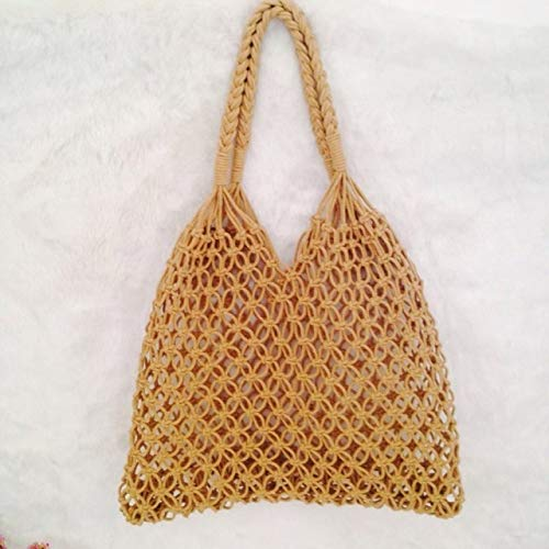 Designer Handbags Net - Summer Beach Bag Handmade Woven Rope Knitted Bag Hollow Out Net Handbag Straw Luxury Handbags Women Bags Designer New (2light Brown)
