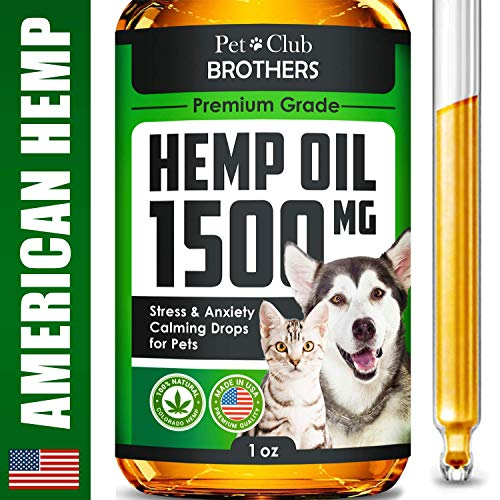 (Hemp Oil for Dogs & Cats - 1500 mg - Effective Premium Formula - Grown & Made in USA - Supports Hip & Joint Health - Natural Relief for Pain and Stress, Separation Anxiety - Pet Omega 3, 6 & 9 Oil)
