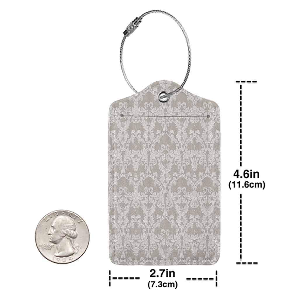 Small luggage tag Taupe Nature Garden Themed Pattern with Damask Imperial Tile Rococo Inspired Stylized Quickly find the suitcase Taupe and White W2.7 x L4.6