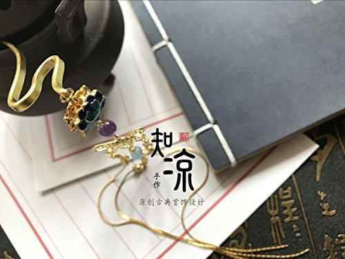 - Lotus cool know cloisonne long tassels Treasure clouds copper serpentine hair hairpin Chinese clothing accessories ° Kim Chui