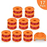 SUERW Line String Trimmer Replacement Spool, [17-Pack] 10ft 0.065'' Replacement Autofeed Spool for Worx String Trimmer [16 Replacement Line Spool, 1 Trimmer Cap]
