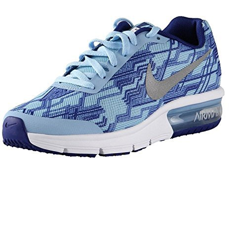 NIKE Big Kids Air Max Sequent Print Bluecap/Silver/White (6 M US Big Kid) by NIKE