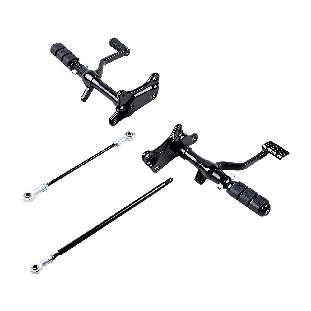 Full Set Forward Controls Foot Peg Levers Linkage for Harley Sportster XL 1200 883 (1991-2003 (Selected), Black) by AMOPA (Image #1)