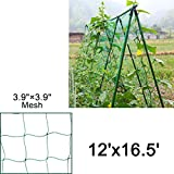 Mr.Garden Netting Reinforced Edge Support for Climbing Plant Trellis Netting Garden Netting Green 3.9''-27 W12'xL16.5'