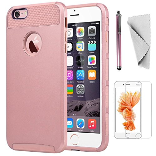 KXLY Apple Compatible Phone Case Replacement for iPhone 6/6S Plus 2 in 1 Hybrid Heavy Duty Shockproof Protective Cover Hard PC Rugged TPU Bumper Dual Layer+Screen Protector+Stylus[Light Rose Gold]