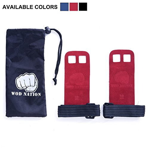 Leather Barbell Gymnastics Grips by WOD Nation - Perfect for Pull-up Training, Kettlebells and CrossFit.