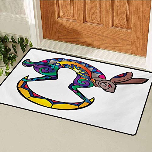 GUUVOR Southwestern Inlet Outdoor Door mat Kokopelli Hare Figure Abstract Colorful Silhouette Spiritual Primitive Symbol Catch dust Snow and mud W23.6 x L35.4 Inch Multicolor