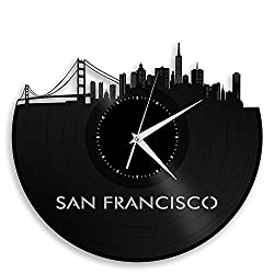 VinylShopUS - San Francisco Skyline Vinyl Record Wall Clock Cityscape Art Cool Unique Gift for Men Women Birthday Anniversary Room Home Room Office Decor