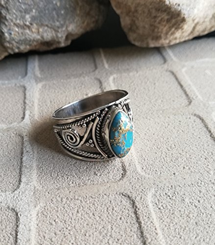 Blue Copper Turquoise Ring, 925 Sterling Silver, Wide Band Ring, Designer Ring, Marquise Shape Ring, Victorian Ring, One Of A Kind, Ocean Ring, Ethnic Ring, Western Ring, Healing Ring,US All Size Ring - Ring Western Wedding