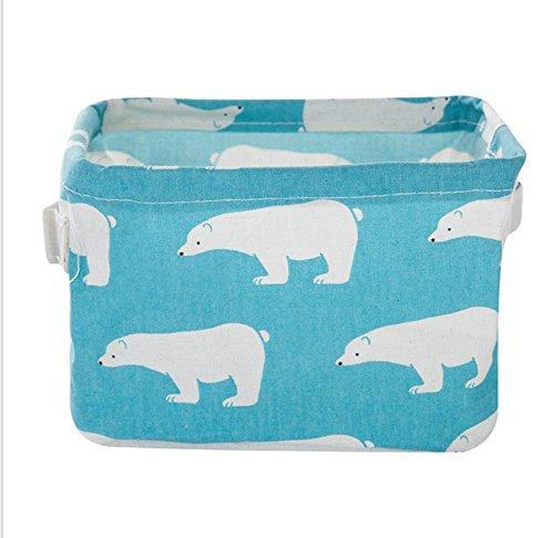 YOLOPLUS Fashion Creative Household Desktop Ambry Cotton Linen with handle Sundry Cloth Cosmetic Storage Basket Box Case Organizer (Green polar ()
