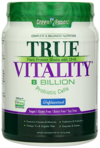 Green Foods True Vitality Plant Protein Shake, Unflavored, 22.7 (Naturals True Foods)