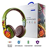 Wireless Bluetooth Headphones for Kids - BuddyPhones WAVE | Kids Safe Volume Limited to 75, 85 or 94 dB | Foldable & Waterproof | 24-Hour Battery Life | Optional Cable for Audio Sharing | Green